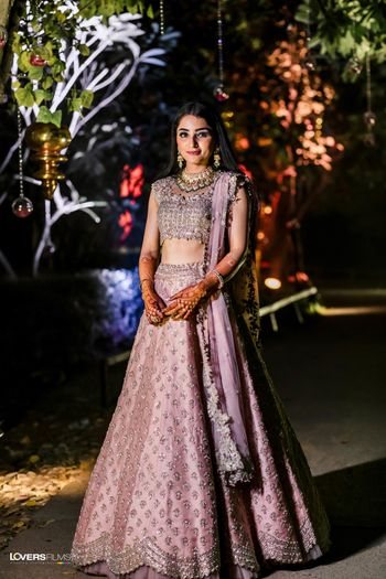 pretty silver and lilac lehenga for engagement