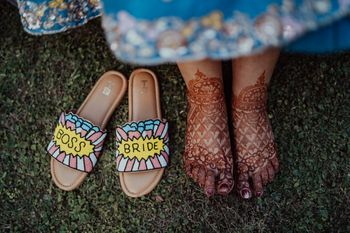 quirky bridal mehendi footwear idea customised