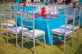 Photo of Light Blue and White Outdoor Table Decor