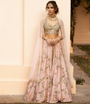 Reception lehenga in gold