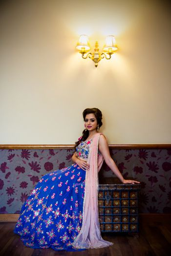 floral threadwork lehenga in blue and peach