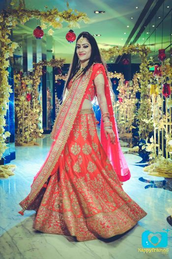 Red and Gold Light Lehenga for Reception