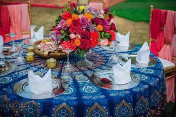 Photo of funky table setting idea for mehendi