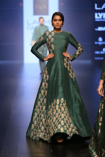 Teal Green Gown with Silver Zardozi Motifs