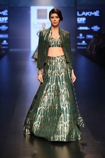 Olive Green Geometric Print Lehenga with Jacket
