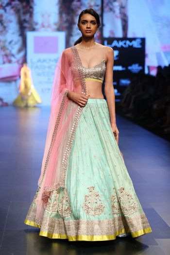 Turquoise lehenga with bustier Anushree reddy