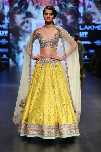Yellow and Silver Lehenga with Sequin and Gota Work
