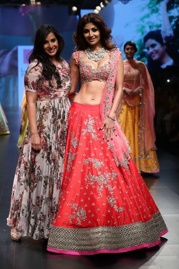 Coral Lehenga with Gota Work and Pink Dupatta