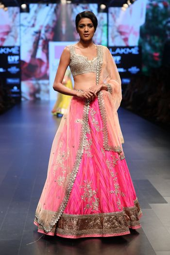 Bright Pink Lehenga with Silver Blouse and Gota Work