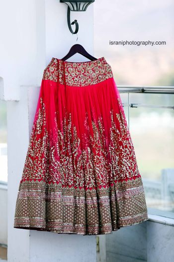 Red and Light Grey Bridal Lehenga on Hanger