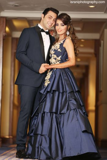 Navy Blue Cocktail Gown with Floral Embroidery