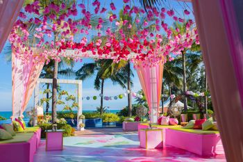 Pink tent with gota pankhis hanging down the ceiling