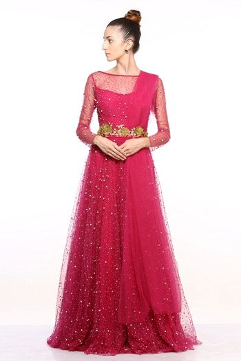 Dark Pink Evening Gown with Sheer Sleeves and Sequins