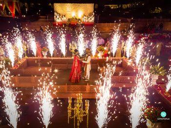 jaimala stage with fireworks during exchange