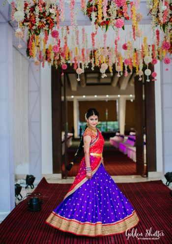 Blue Lehenga with Gold Border and Red Dupatta