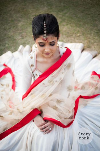 Photo of Red and White Flared Light Lehenga for Engagement