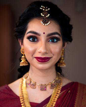 South Indian bridal makeup.