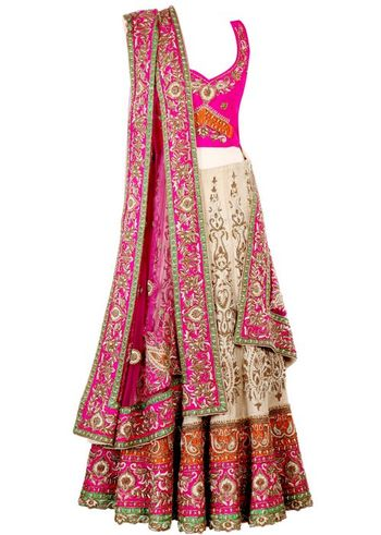 cream and pink lehenga with border