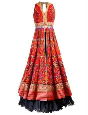 jacket lehenga in red with threadwork