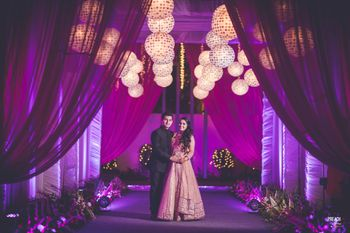 Purple Themed Entrance Decor with Round Paper Lamps