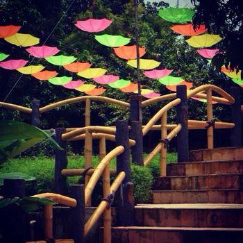 Colourful Inverted Suspended Umbrellas in Decor