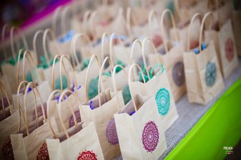 Colourful Gift Bags with Wedding Favours for Guests