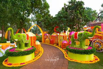 Entrance Decor with Floral Elephant Murals