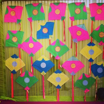 Kites as stage backdrop or Photo Booth for mehendi