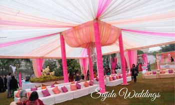 outdoor morning wedding decor color theme of peach pink