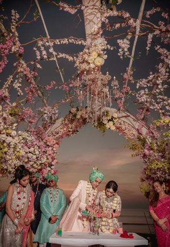 grand floral stage decor for mandap