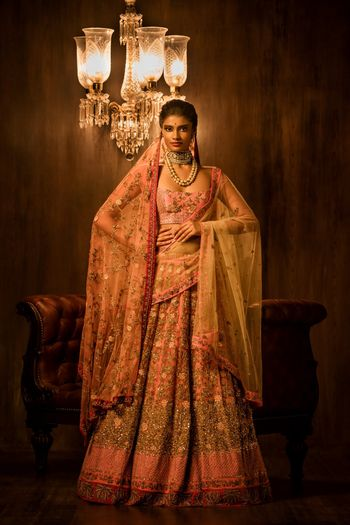 Light ink and gold bridal lehenga