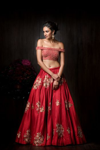 Off shoulder blouse and lehenga bridal
