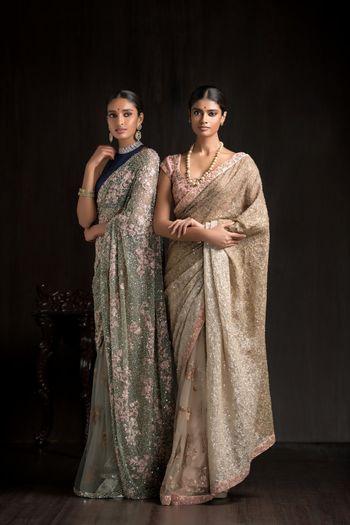 Gold saree , emerald green saree