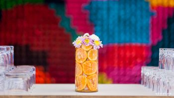 Photo of fruit table centerpiece with oranges