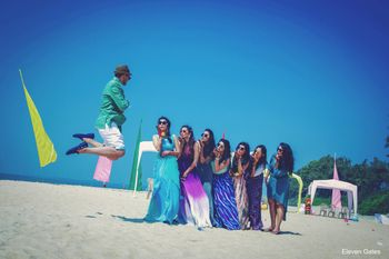 Bridesmaids with Bride and Groom on Beach