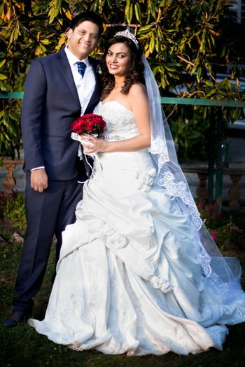 White Christian Wedding Gown with Tiara and Veil