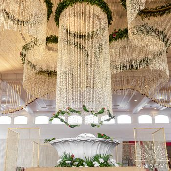 Floral chandeliers for the ceiling decor.