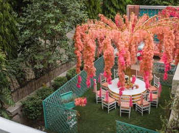 Coral and pink mehendi decor theme