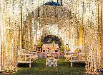 Entrance Decor with Hanging Mogra Strings