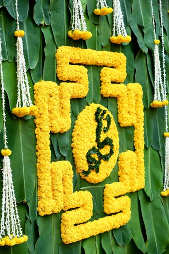 green and yellow south Indian wedding function