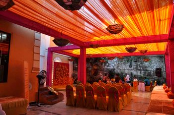 Photo of orange and pink rajasthani theme mehendi