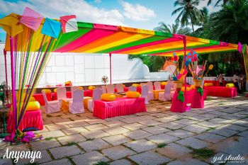 Colourful Mehendi Decor with Kites and Origami