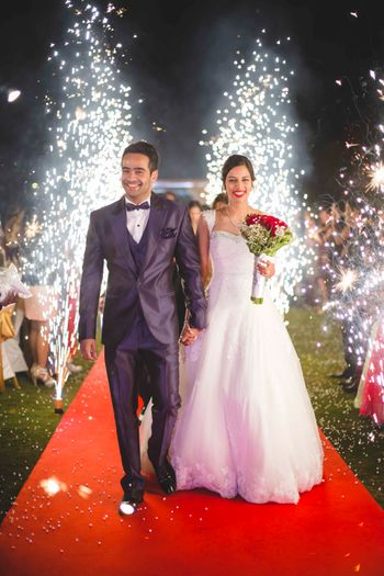 Christian Bride and Groom Entering to Fireworks