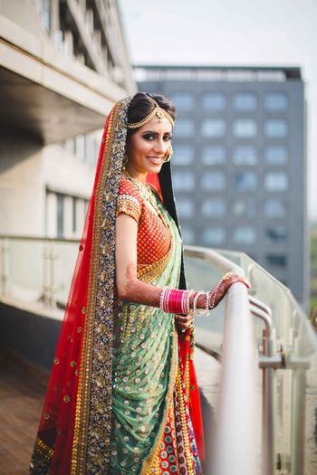 Multicolored bridal outfit