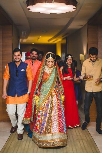 Bride in Multicoloured Bridal Lehenga