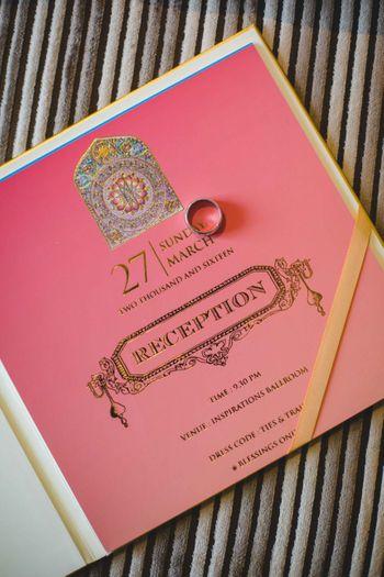 Pink reception card