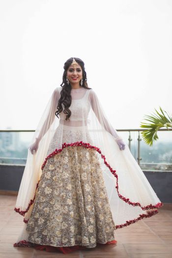 Photo of Floral applique lehenga in white