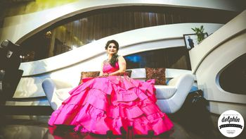 Bright Pink Ruffled Gown for Engagement