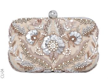 gold and silver glamorous bridal clutch for cocktail