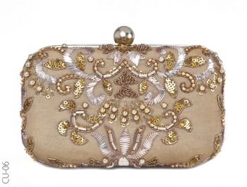 gold and beige bridal clutch with handle